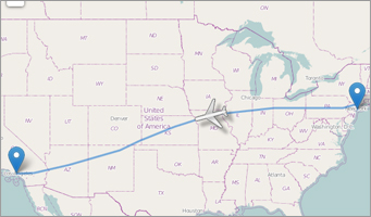 Visualized plane flight path on map of united states
